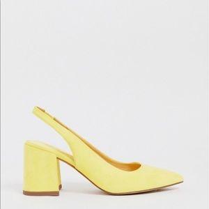 ASOS Samson slingback mid heel in pale yellow
